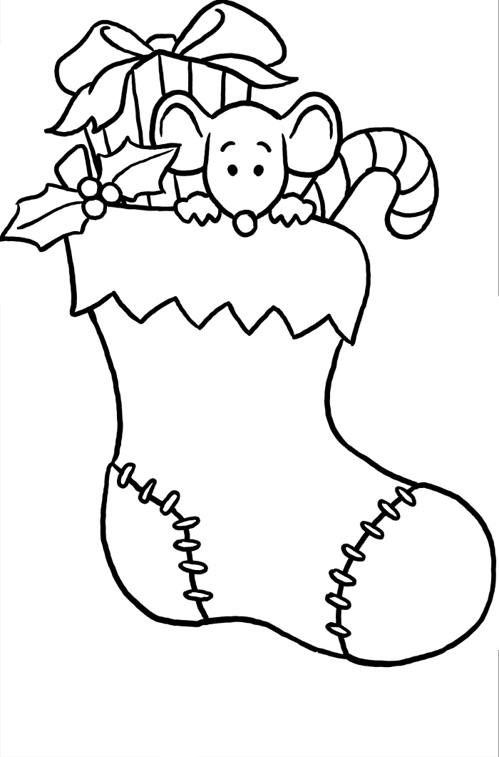 Christmas stocking coloring page