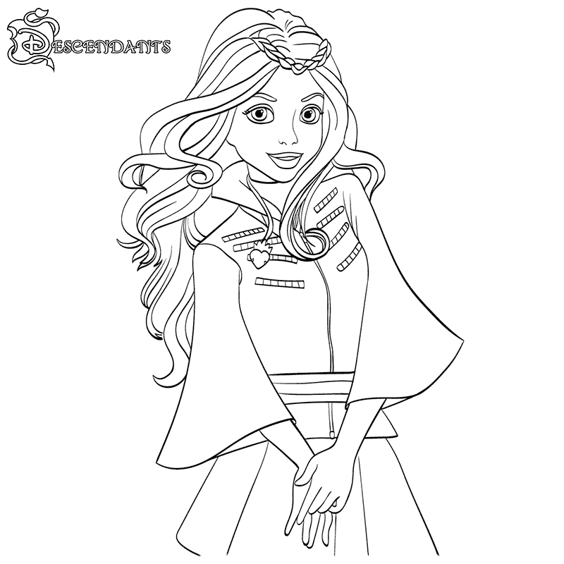 coloring pages for kids disney channel | Descendants Coloring Page Apple Disney Channel Movie ...