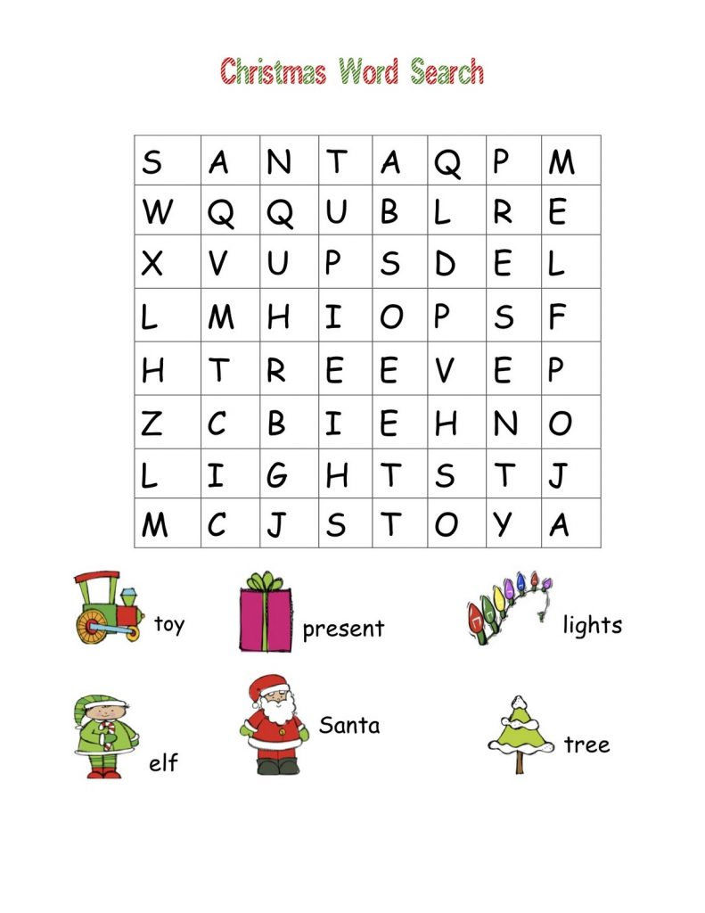 Easy Christmas Word Search