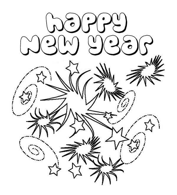 Fireworks - Happy New Year Coloring Pages
