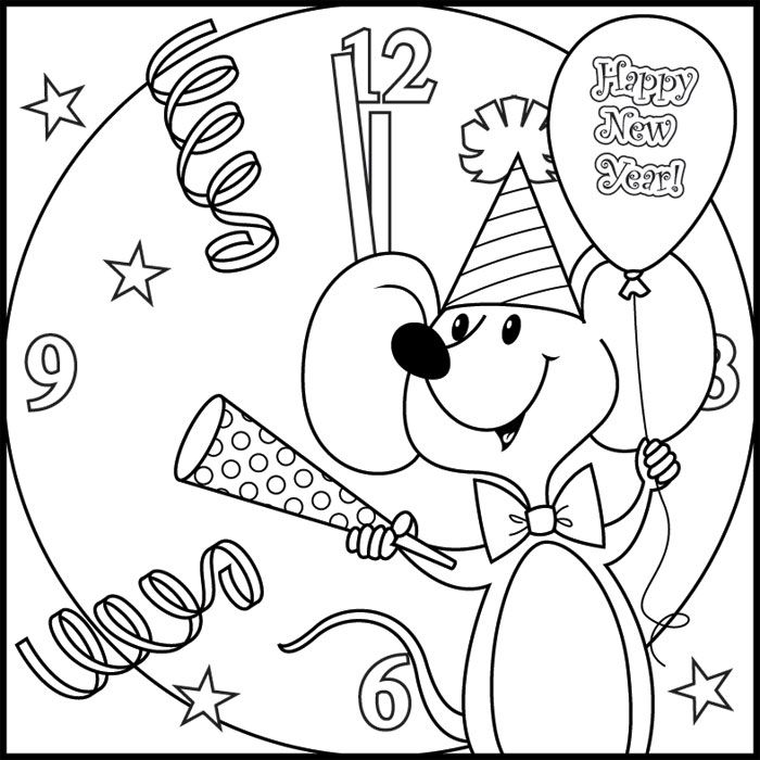 Happy New Year Coloring Pages - Mouse
