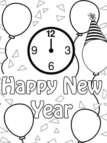 Happy New Year Party Coloring Pages