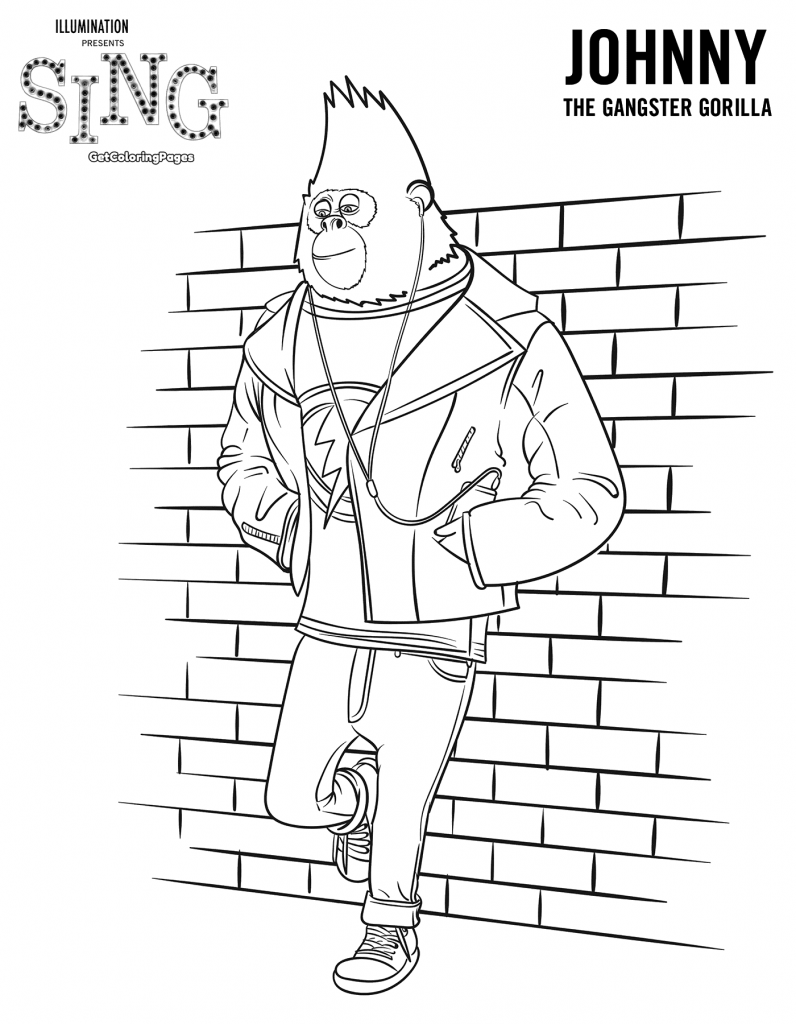 Johnny from Sing Coloring Page