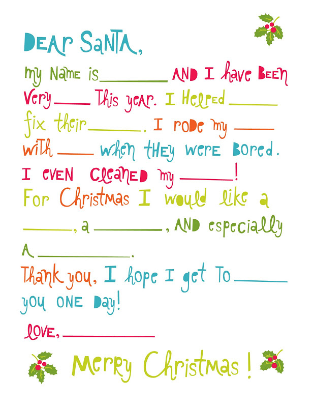 Printable christmas games for kids and adults letter to santa fill in the blanks spiritdancerdesigns Images