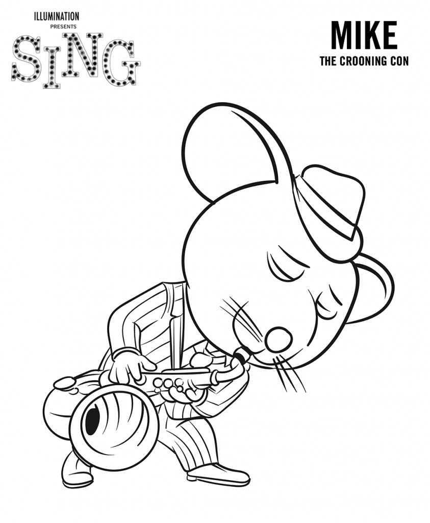 Mike from Sing Coloring Page