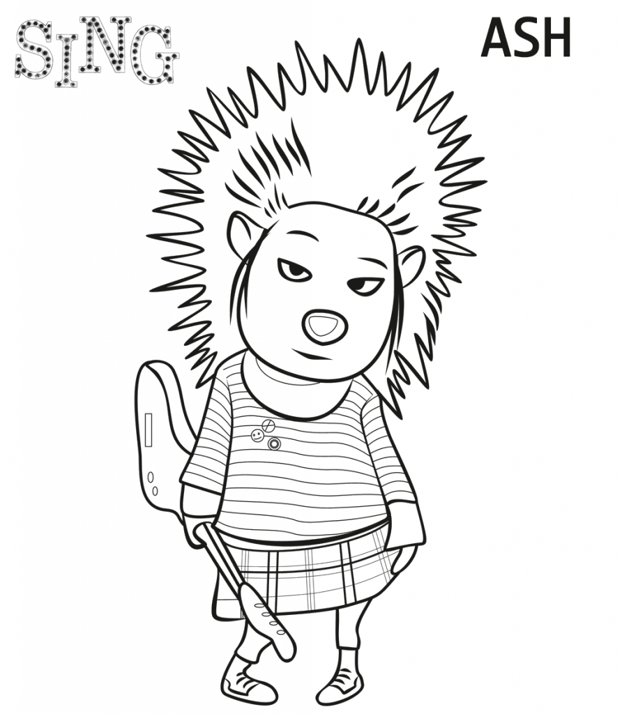 Print Ash from Sing Coloring Page