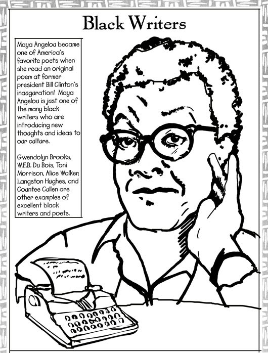 Black History Month Coloring Pages - Black Writers