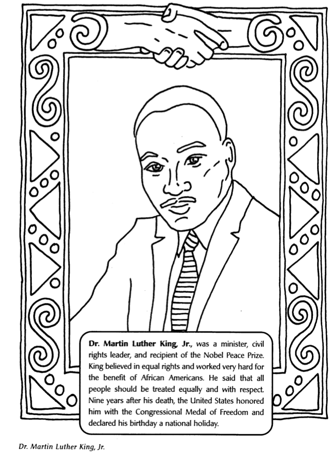 Black History Month Coloring Pages - Dr Martin Luther King, Jr