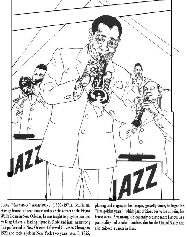 Black History Month Coloring Pages - Jazz revolution