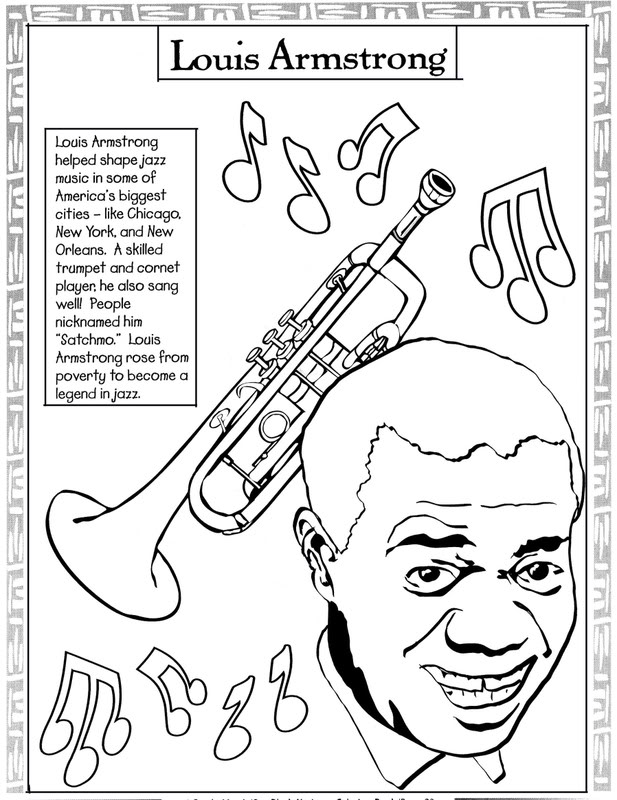 Black History Month Coloring Pages - Louis Armstrong