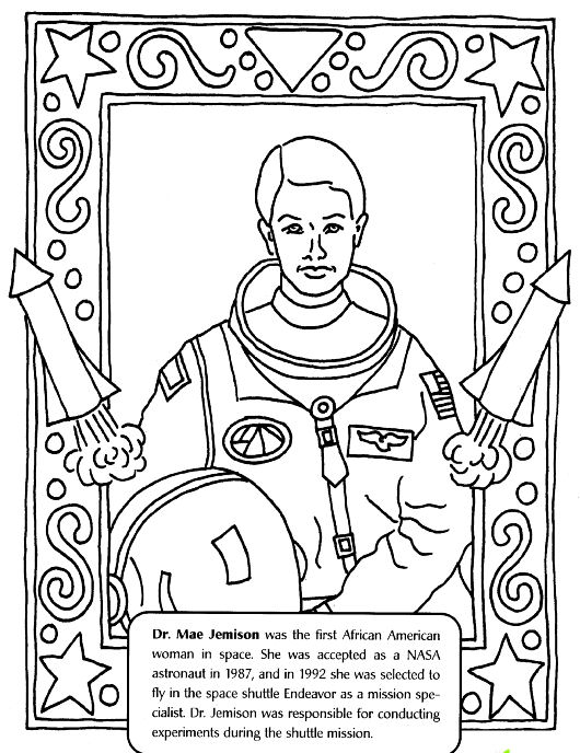 Black History Month Coloring Pages - Mae Jemison Female Astronaut