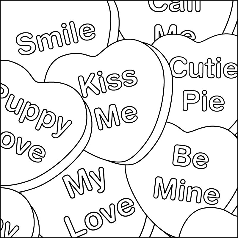 candy hearts coloring page - Free Valentines Day Coloring Pages