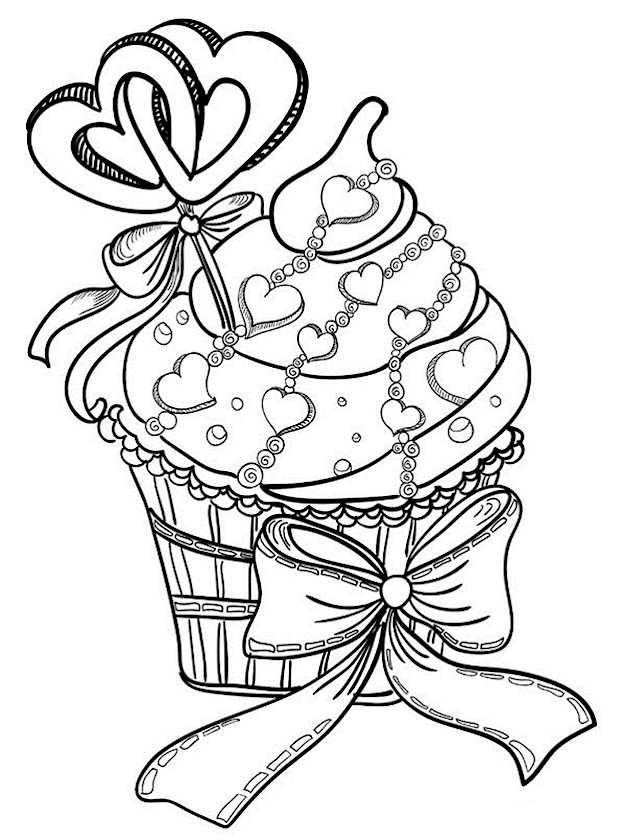 Coloring Pages Valentines Day Cupcakes - Worksheet & Coloring Pages