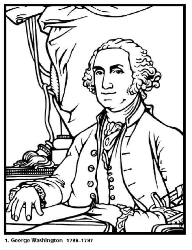 george washington coloring page printable - George Washington Coloring Page
