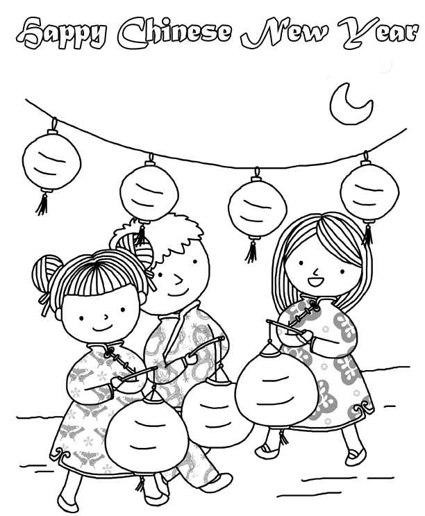 happy chinese new year coloring pages printable - Chinese New Year Coloring Pages