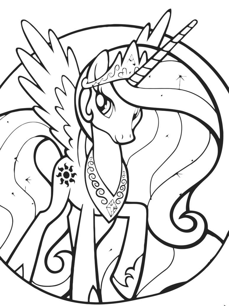 Princess celestia coloring pages best coloring pages for for My little pony print out coloring pages