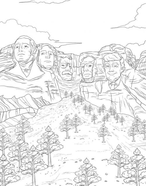 Trump Rushmore Coloring Page