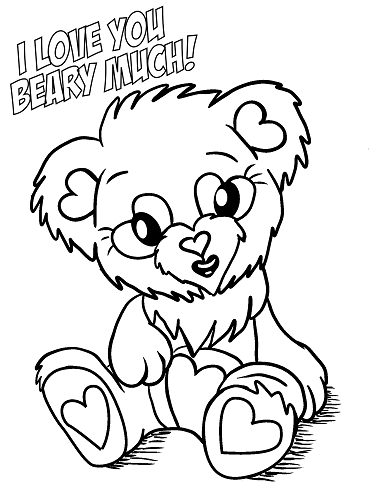 Valentines Day Coloring Pages - Bear