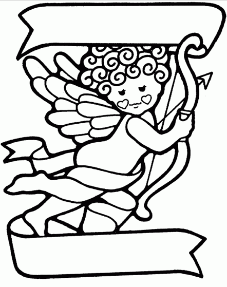 Valentines Day Coloring Pages - Cupid Banner