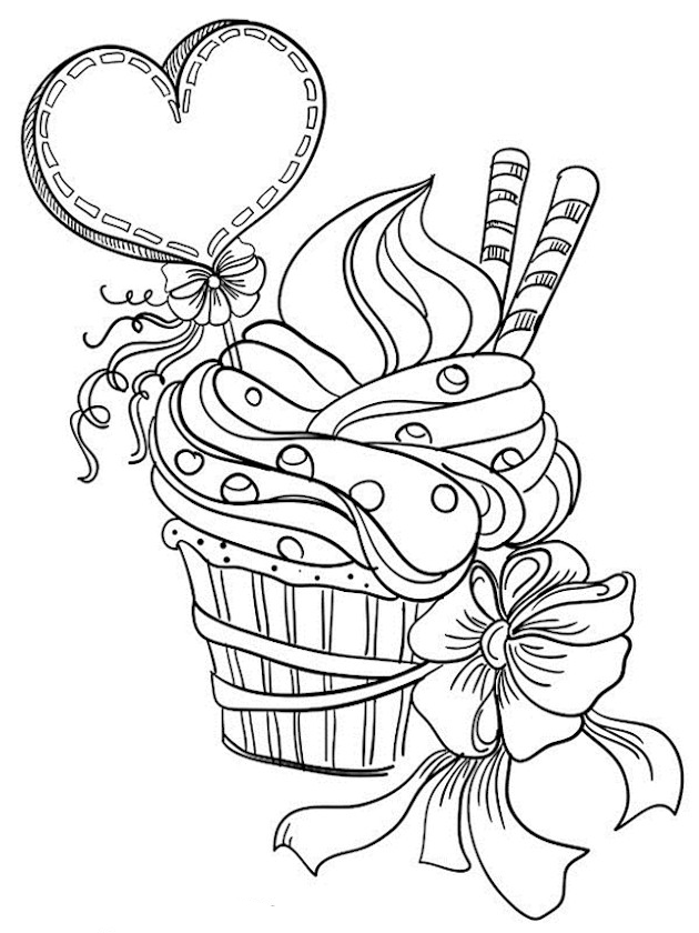 valentines day cupcake coloring pages for adults - Valentines Day Coloring Pages For Adults