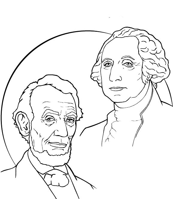 Washington and Lincoln Coloring Page