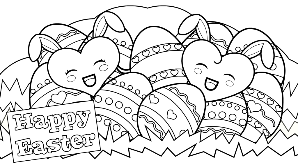 Bunny Hearts - Happy Easter Coloring Pages