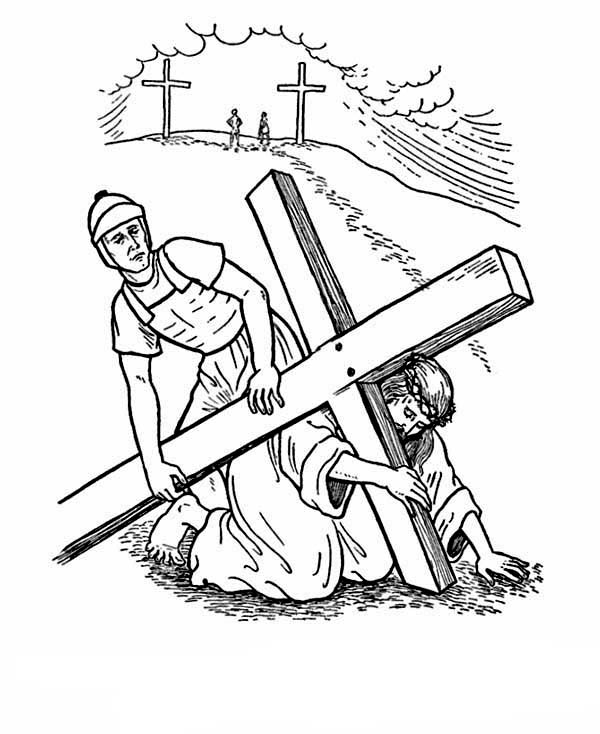 Carrying Cross Good Friday Coloring Pages