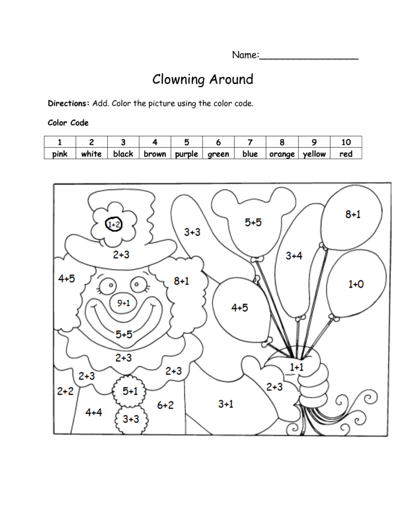 Color By Number Addition