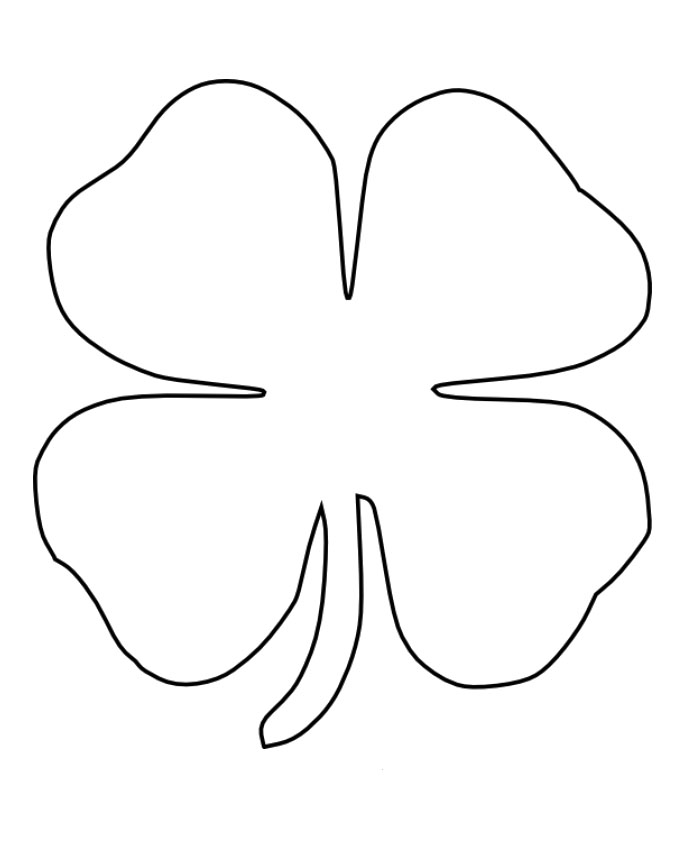 Four leaf clover coloring pages best coloring pages for kids for Shamrock cut out template