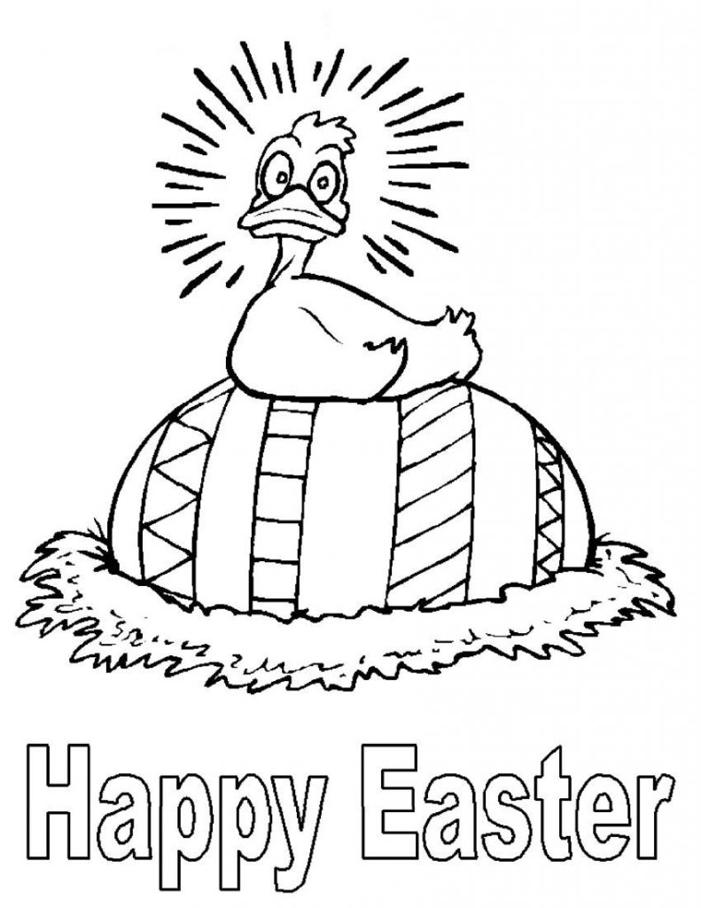 Duck - Happy Easter Coloring Pages