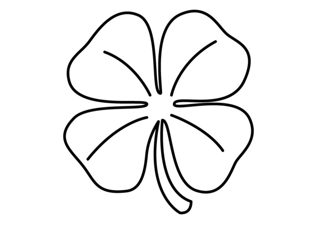 four leaf clover coloring pages - Clover Color
