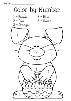 Free Easter Bunny Color by Numbers