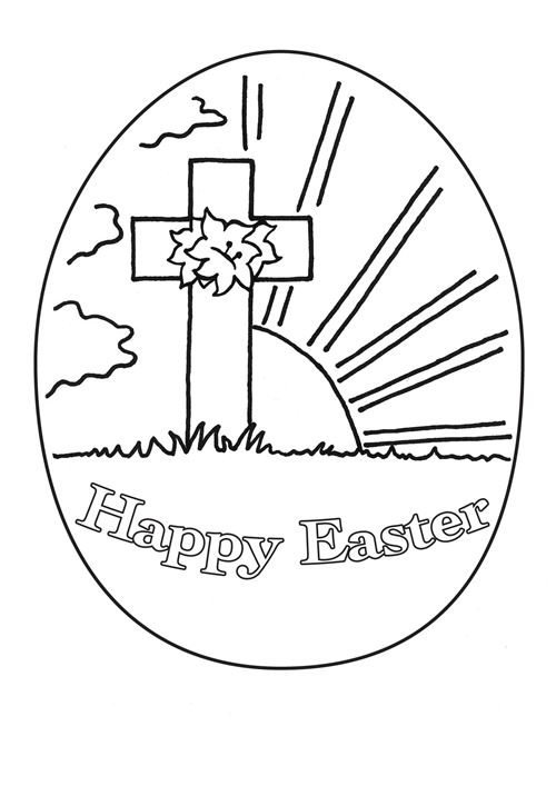 Happy easter cross religious easter coloring pages