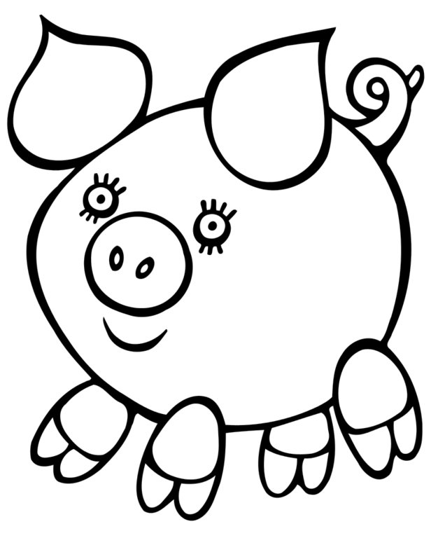 Easy Coloring Pages - Pig