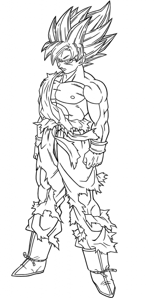 Goku 1st Transformation - Dragon Ball Z Coloring Pages