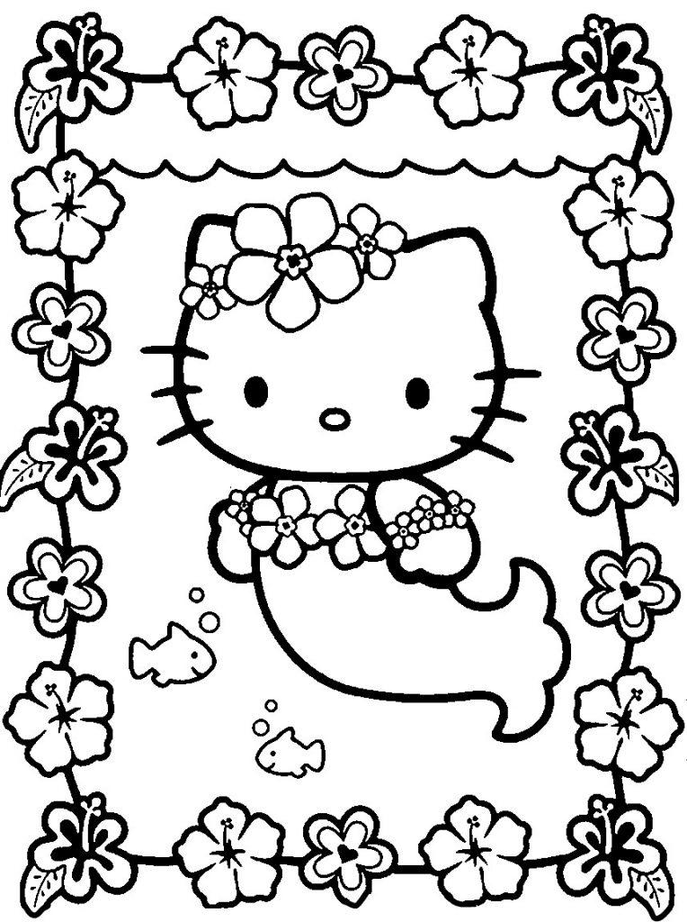 Hello Kitty Mermaid Kawaii Coloring Page