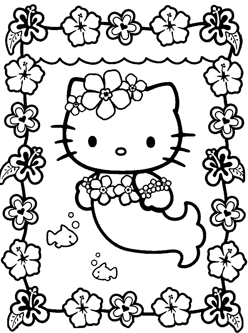 hello kitty mermaid kawaii coloring page - Free Coloring Pages For Kids
