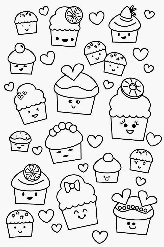 Kawaii Cupcake Coloring Pages