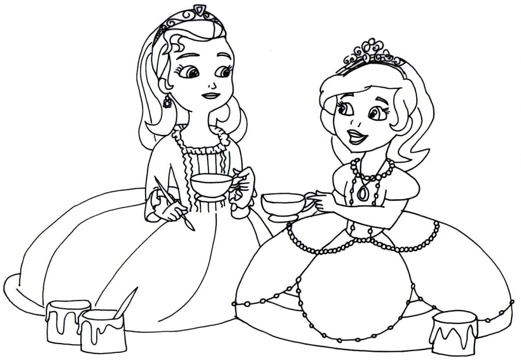 Sofia the First and Amber Coloring Pages