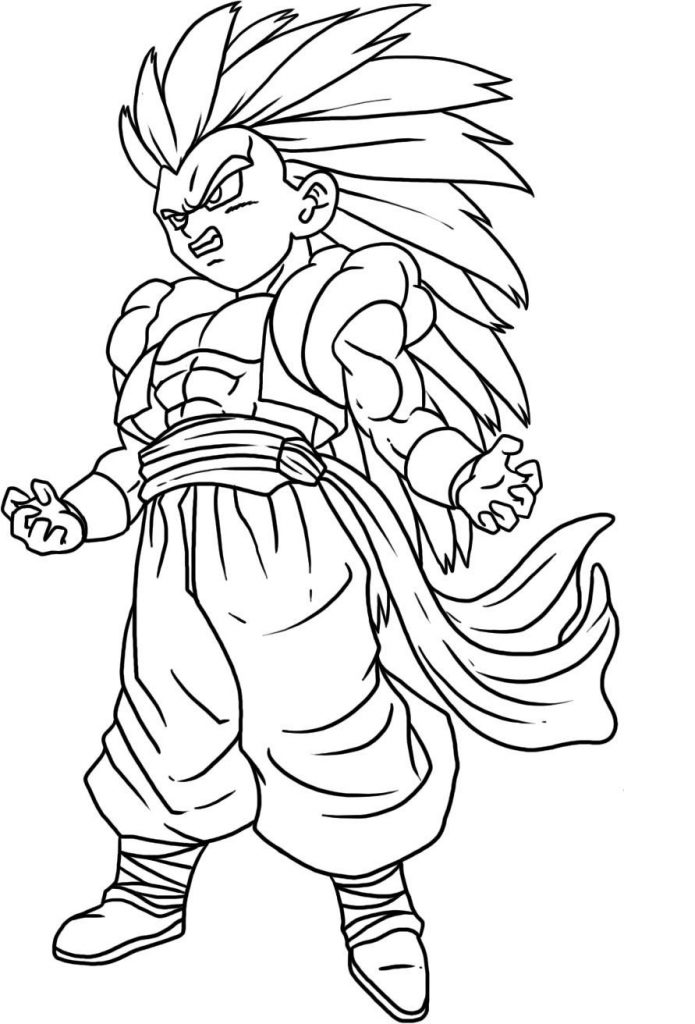 Super Saiyan 3 Gotenks - Dragon Ball Z Coloring Pages