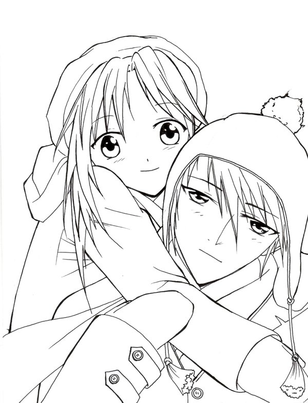 Anime Couple Coloring Page Printable