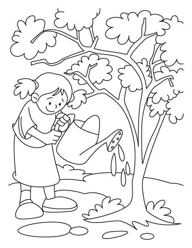 Arbor Day Watering Trees Coloring