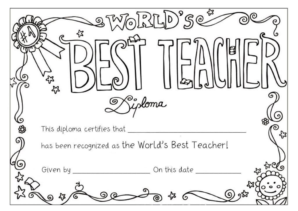 Best Teacher Award Free Printable