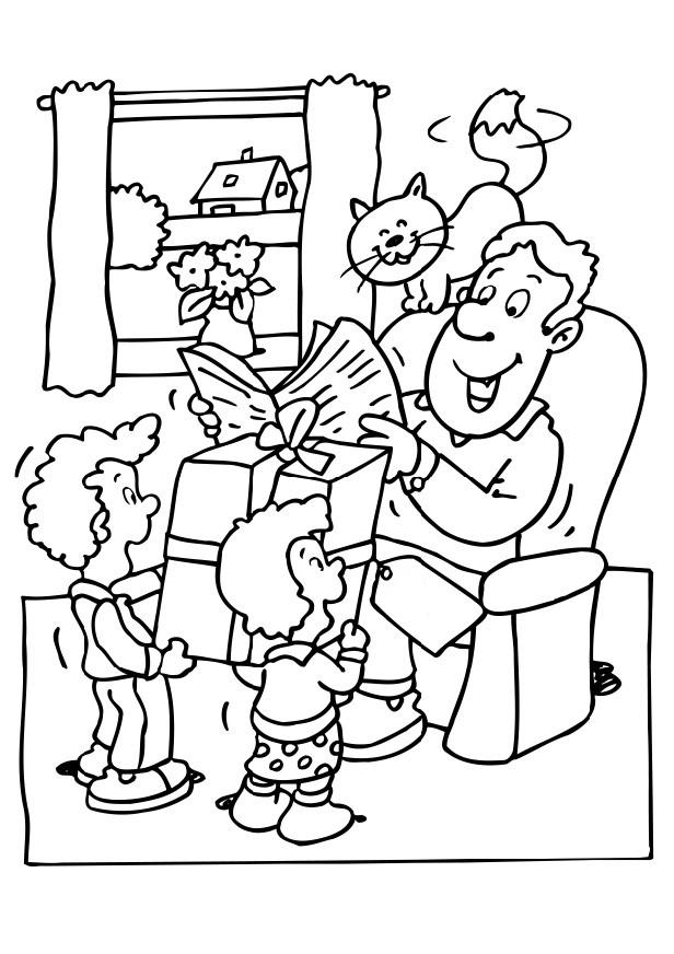 Fathers Day Presents Coloring Page