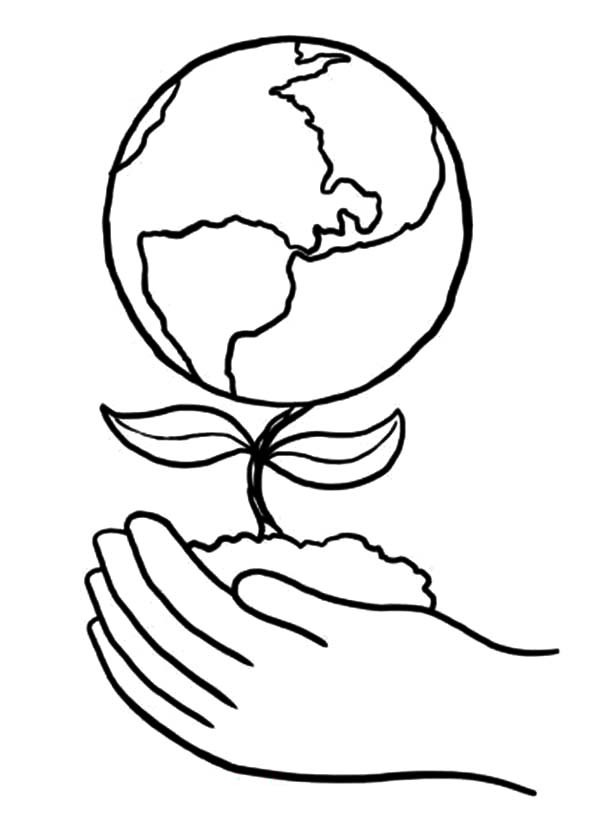 Nature Earth Tree Coloring Page