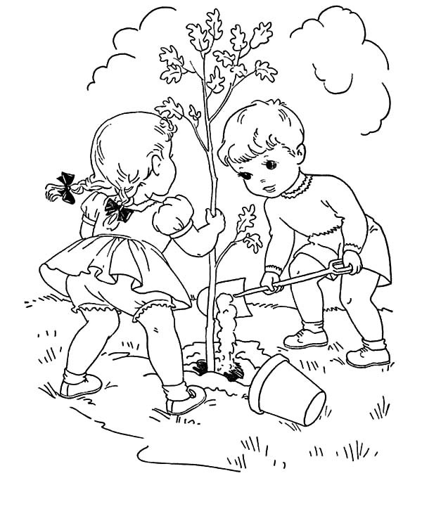 Plant Arbor Day Tree Coloring Page