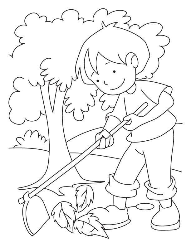 Raking Leaves Coloring Page