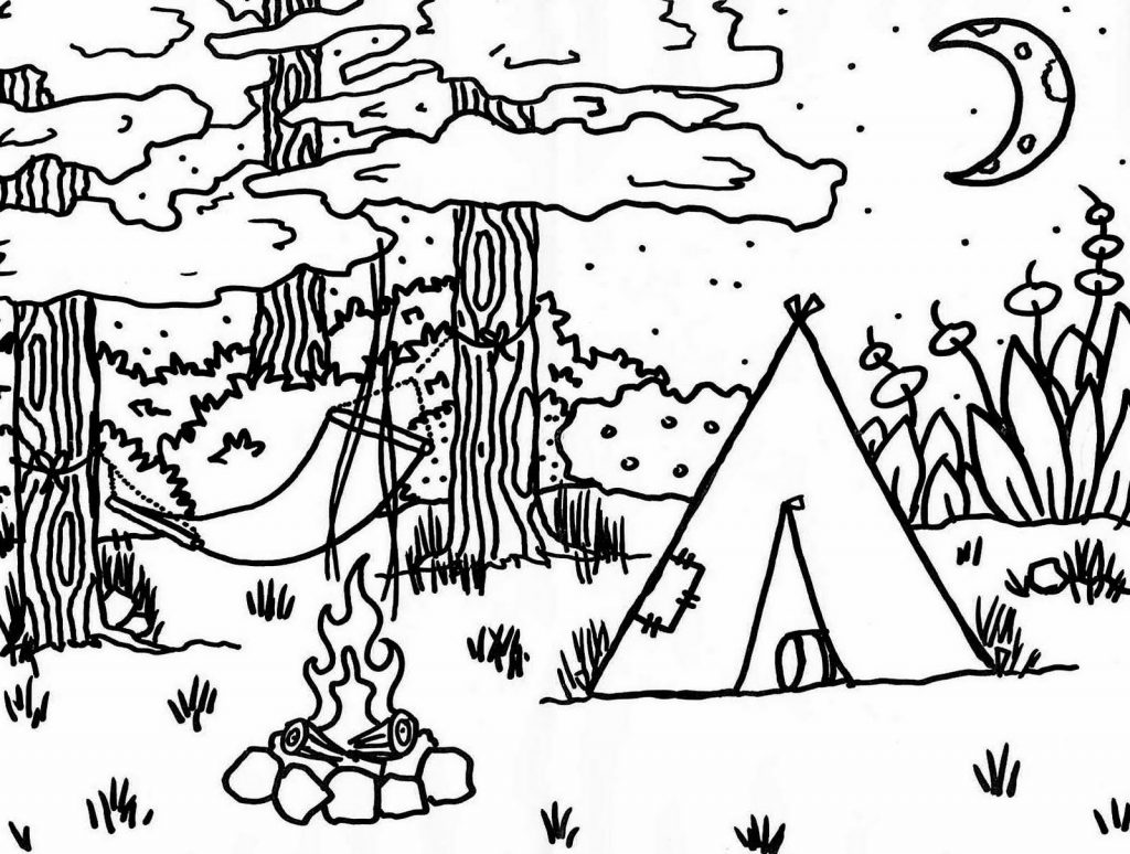 Camp Coloring Page