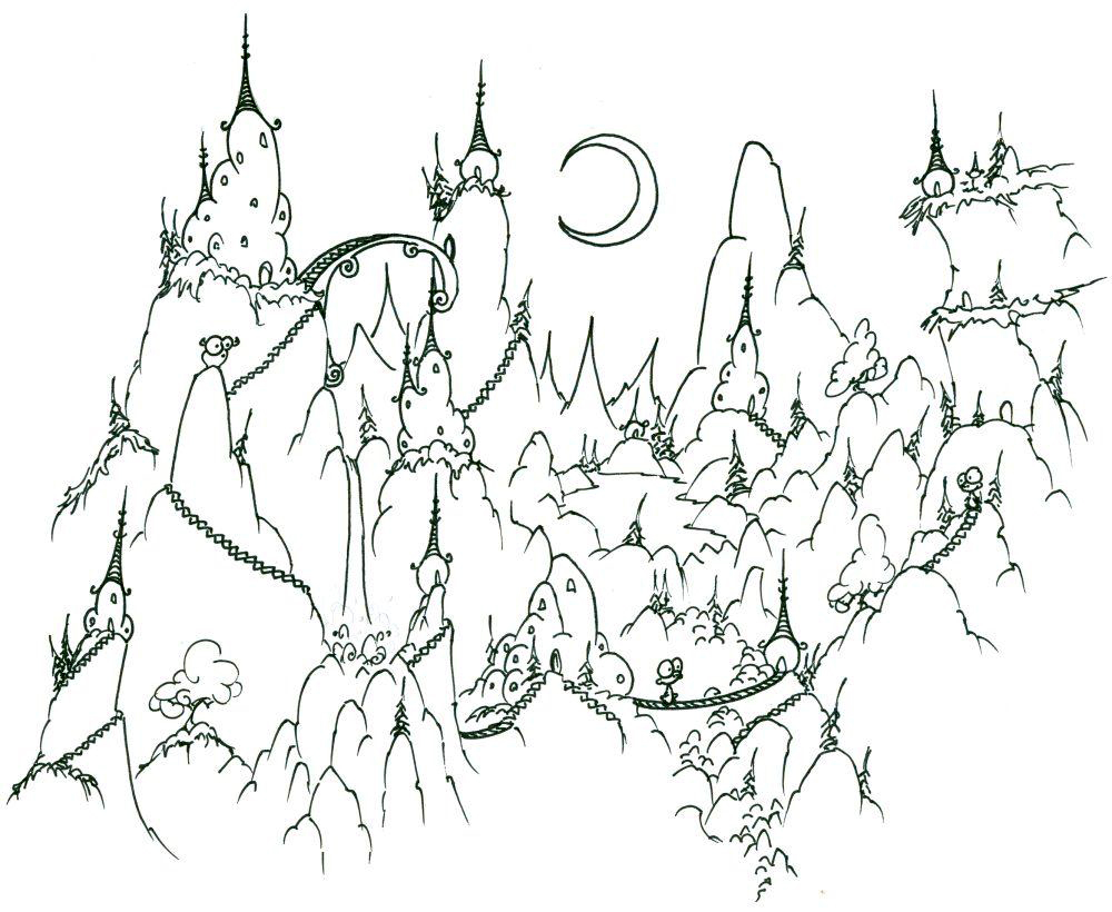 Cute Mountain Village Coloring Page