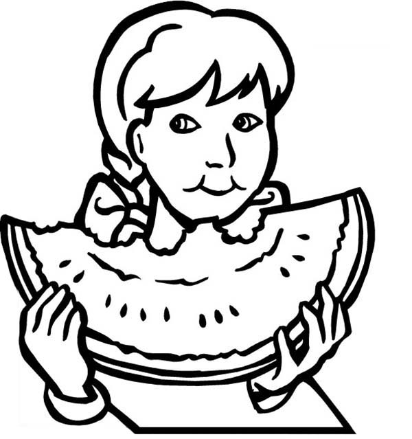 Eating Watermelon Coloring Pages Free